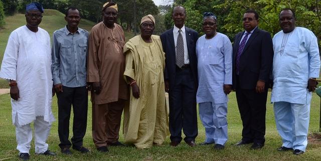 L-R: Otunba Bisi Egbeyemi, Odu'a Director, Mr. Adewale Raji, Odu'a Group Managing Director, Prof. Ademola Ariyo, Chairman, Board of Director, University of Ibadan School of Business, Chief (Dr.) Isaac Akintade, Odu'a Chairman, Engr. Joseph Makoju, former CEO Lafarge-Wapco & Old Nepa, Alhaji Tajudeen Bello, Odu'a Director, Mr. Joseph Tegbe, Partner, KPMG Advisory Services and Otunba Olajumoke Ogunkeyede, Odua Director at the Odu'a Management Retreat.